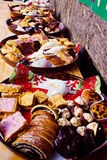 Traditional European Christmas sweets on food festival. Royalty Free Stock Image