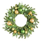 Traditional European Christmas Wreath With Golden And Green Baubles Stock Images