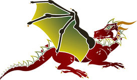 Traditional European dragon stencil Stock Photo