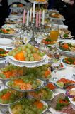 Traditional European festive holiday dinner meals. Table Royalty Free Stock Images