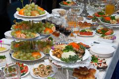 Traditional European festive holiday dinner meals. Table Stock Photography