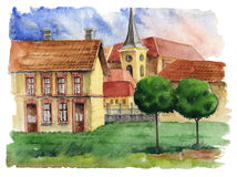 Traditional European urban landscape.Old European town with brick houses, tiled roofs and church. Urban view.Watercolor. Traditional European urban landscape vector illustration