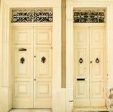 Traditional exterior door in Malta. Two traditional exterior doors in Malta. The historic center of Valletta Stock Images