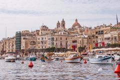 Traditional eyed boats Luzzu in Malta royalty free stock photos