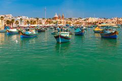 Taditional eyed boats Luzzu in Marsaxlokk, Malta Royalty Free Stock Image