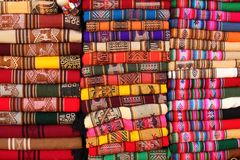 Traditional fabrics from Andean region Stock Photos