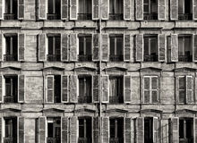 Traditional Facade in Paris. Black and White Royalty Free Stock Image