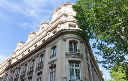 The traditional facade of Parisian building, France. Stock Photo