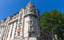 The traditional facade of Parisian building, France. Stock Image