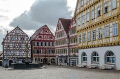 Traditional fachwerk style in Olld town Leonberg, Germany. LEONGERB, GERMANY - OCTOBER 30, 2017: Traditional fachwerk style in Old town Leonberg, Germany Royalty Free Stock Photos