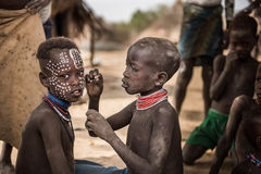 Traditional facial painting in the Karo Tribe Royalty Free Stock Image