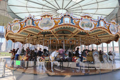Traditional fairground Jane's carousel in Brooklyn Stock Photo