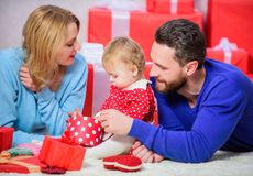 Traditional family values. Couple in love and baby are happy family. Family celebrate anniversary. Valentines day. Lovely family celebrate valentines day stock images