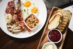 Traditional famous full english british classic breakfast meal s stock photography