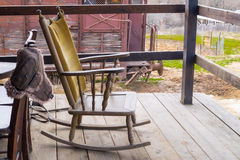 Traditional farm chair at balcony Royalty Free Stock Photos