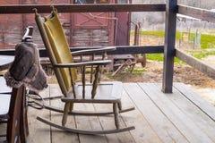 Traditional farm chair at balcony Royalty Free Stock Photos