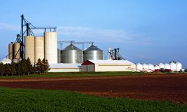 Traditional Farm with Silo Royalty Free Stock Photography