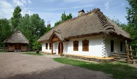 Traditional farmer's house in open air museum, Kiev, Ukraine. Reconstruction of a traditional farmer's house in open air museum, Kiev, Ukraine Royalty Free Stock Images
