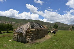 Traditional Farmhouse in Lesotho Stock Image