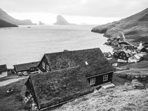 Traditional Faroe Islands village with landscape Stock Image