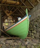 Traditional Faroese fishing boat, old boathouse Royalty Free Stock Photos