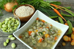 Traditional fava bean soup made with garden vegetables Stock Images