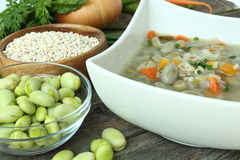 Traditional fava bean soup made with garden vegetables Stock Image