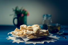 Traditional faworki cookies. Traditonal angel wings cookies, faworki on the plate Stock Photography