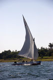Traditional felucca on the river Nile at Aswan, Egypt. Boat stock photography