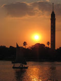 traditional Felucca (sailingboat) at sunset. Cairo Stock Image