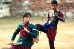Traditional fence dance for teachers worship. Stock Photos