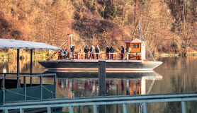 Traditional Ferry in a River. In Italy royalty free stock photography