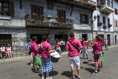 Traditional festival celebrations in street, Lesaka, Navarre, Northern Spain stock image