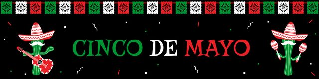 Funny cactus mariachi band cinco de mayo banner. Traditional festival cinco de mayo web design banner template. Two funny cactus mariachi in sombrero with guitar