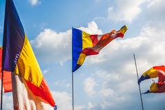 Traditional Festival flags of Vietnam Five Elements Flag Stock Photo