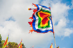 Traditional Festival flags of Vietnam Five Elements Flag. Nha Trang stock photo