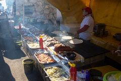 Street selling a barbecue. royalty free stock images