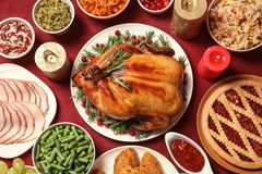 Traditional festive dinner with delicious roasted turkey served on table. Flat lay stock image