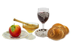 Traditional festive food for Rosh Hashanah, isolat Royalty Free Stock Images