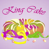 Traditional festive King Cake to celebrate Mardi Gras. Festive beads and ribbons surround the cake. Background for Fat. Tuesday in simple cartoon style. Vector Stock Photography