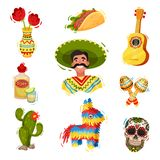 Traditional festive Mexican paraphernalia. Vector flat illustration. Traditional festive Mexican paraphernalia. Fiesta concept. Day of the Dead. Culture and vector illustration