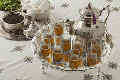 Traditional festive Moroccan silver tea set Royalty Free Stock Photography