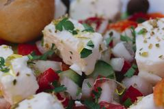 Traditional Polish Food in Gdansk. Traditional feta cheese salad. Polish food in a restaurant in Gdansk, Poland stock image