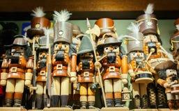 Traditional Figurines of Christmas Nutcrackers. Traditional european wooden Figurines of Christmas Nutcrackers Royalty Free Stock Photos