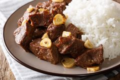 Traditional Filipino beef Salpicao with garlic and rice closeup. Traditional Filipino beef Salpicao with garlic and rice closeup on a plate on a table Royalty Free Stock Photos