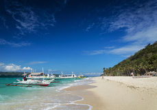 Traditional filipino ferry taxi tour boats puka beach boracay ph Royalty Free Stock Photos