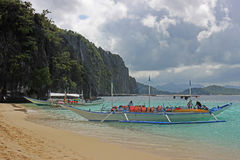 Traditional filippino boat in the sea. Palawan Philippines Royalty Free Stock Images