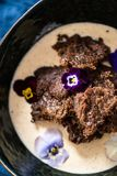 Traditional Finnish Easter Rye Pudding, With Cream Royalty Free Stock Photos