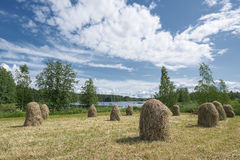 Traditional Finnish haystacks Stock Images