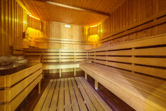 Traditional Finnish sauna interior Stock Photography